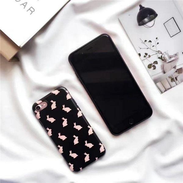 iPhone手機殼 韓國ins超人氣 情侶黑粉兔子 IMD不掉色 磨砂軟殼 蘋果iPhone7/iPhone6手機殼