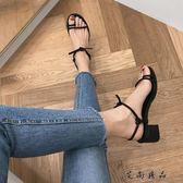 綁帶高跟 韓版一字帶中跟粗跟涼鞋