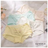 Catworld  瞇瞇眼蕾絲花邊棉質低腰內褲【18801491】‧F