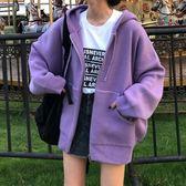 秋冬女裝韓版中長款chic加厚慵懶風連帽大口袋針織衫毛衣開衫外套