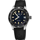 Oris 豪利時 Divers Sixty-Five 潛水機械女錶-藍x黑錶帶/36mm 0173377474055-0741718