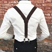 男士襯衫西褲背帶男款成人褲子吊帶松緊防滑吊褲帶扣六夾吊背帶夾   極有家