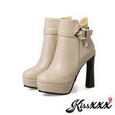 時尚皮帶釦飾異形跟高跟短靴 米 *KissXXX*