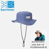 【速捷戶外】日本Karrimor Pocketable rain hat +d 防水圓盤帽(單寧藍) 82103A812, 登山帽 漁夫帽 防水帽