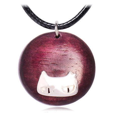 設計木頭貓 銀睿智貓項鏈 短款女 飾品禮物