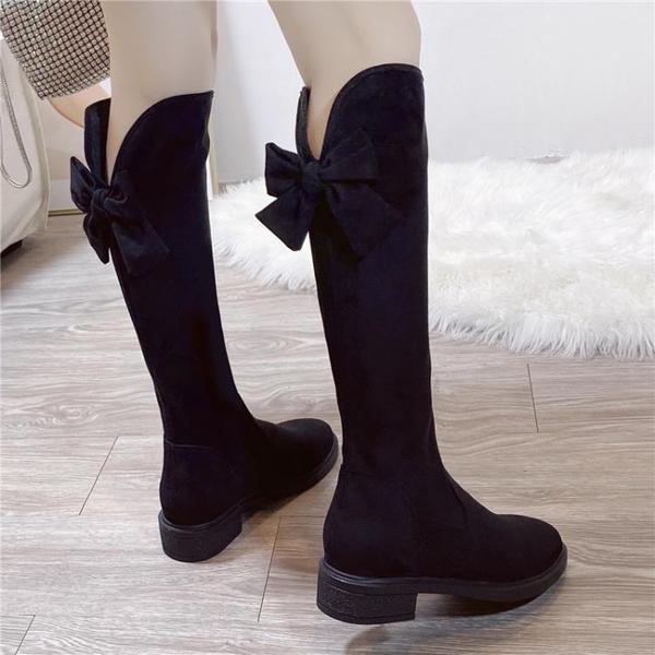 長靴女時尚蝴蝶結彈力2021新款冬季韓版平底馬靴長筒瘦瘦高筒棉靴 百分百