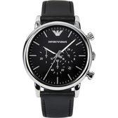 Emporio Armani 亞曼尼 Classic 城市時尚計時手錶-黑/46mm AR1828