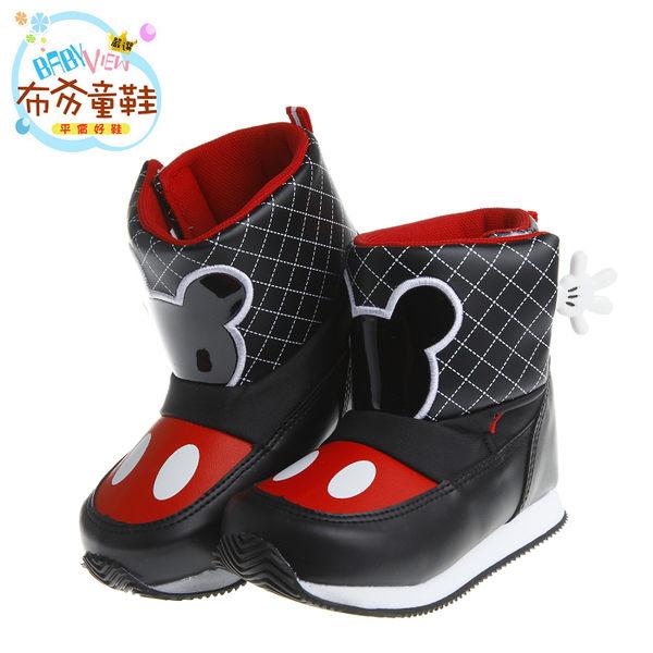 《布布童鞋》Disney迪士尼米奇手套黑色菱格紋保暖空氣靴(16~21公分) [ MLY652D ] 黑色款