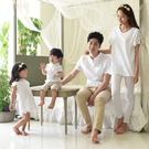 韓版白色袖子拼接蕾絲短袖上衣親子裝(大人...