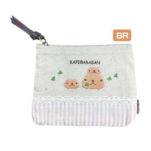 Kapibarasan 水豚君棉麻系列面紙零錢包-咖啡條紋