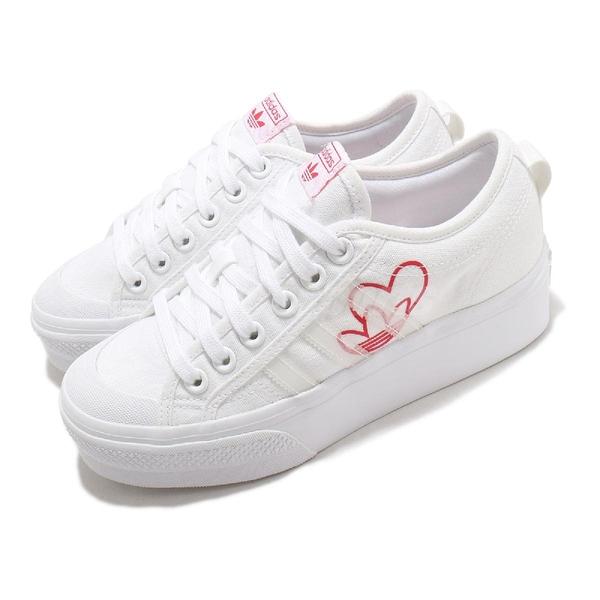 adidas 休閒鞋 Nizza Platform W 白 紅 愛心 三葉草 小白鞋 女鞋 增高【ACS】 FX9179