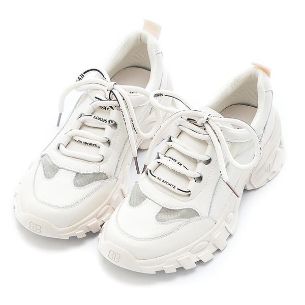 2.Maa 時尚綁帶牛皮拼接網布老爹鞋 - 米