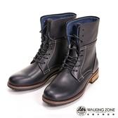 【WALKING ZONE】帥氣俐落8孔造型休閒中筒 女靴-黑(另有咖)