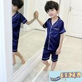 兒童睡衣夏裝男童家居服薄款空調服冰絲套裝綿綢睡衣中大童男孩夏【風鈴之家】
