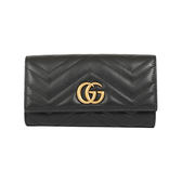GUCCI GG Marmont 斜紋皮革復古金屬LOGO釦式長夾(黑色)