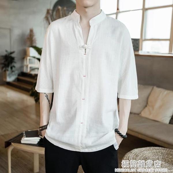 亞麻短袖t恤男夏季寬松大碼胖子五分半袖潮流中國風男裝棉麻上衣 極簡雜貨