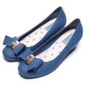 DIANA 漫步雲端雨滴款--甜美蝴蝶結果凍楔型雨鞋-琉璃藍★特價商品恕不能換貨★