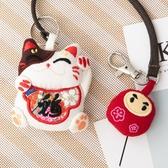 Kiro貓‧招財貓 立體造型 蠟繩 手鉤鑰匙圈吊飾/包包掛飾【820038】