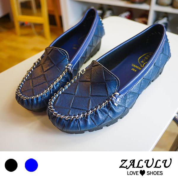 ZALULU愛鞋館 7M8901 現貨+預購 MIT台灣製菱格壓紋柔軟小厚底包鞋-藍/黑-36-39