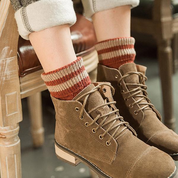 [超豐國際]韓國秋冬復古粗毛線襪子女加厚保暖翻邊羊毛襪中筒堆1入