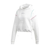 adidas 長袖T恤 Cropped Hoodie 白 彩色 女款 帽T 運動休閒 短版 【PUMP306】 GC8789