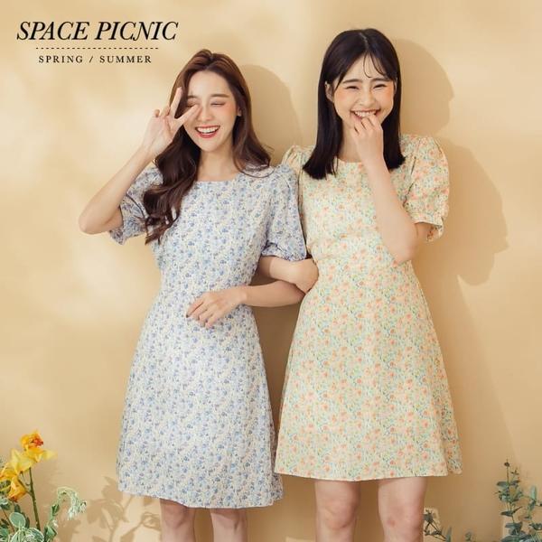 短袖 洋裝 Space Picnic|復古碎花短澎袖綁帶洋裝(現+預)【C20048058】