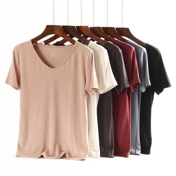 涼感衣 春夏莫代爾女士短袖純色V領涼感T恤女寬鬆打底外穿氣質女上衣-Ballet朵朵