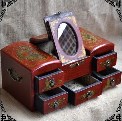 木質中式複古梳妝化妝盒子公主歐式生日禮物龍鳳首飾收納鏡盒結婚