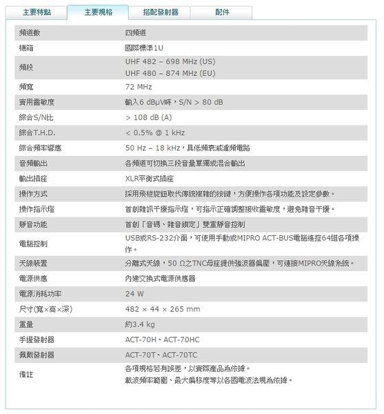 ^聖家^MIPRO 嘉強寬頻四頻道純自動選訊接收機 ACT-74【全館刷卡分期+免運費】