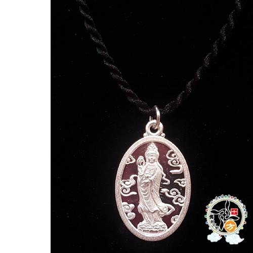 白衣觀音925銀+黑繩項鍊【 十方佛教文物】