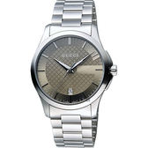 GUCCI G-Timeless 菱格紋腕錶-棕x銀/38mm YA126445