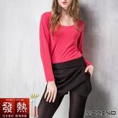 【MORINO摩力諾】女日本素材 發熱衣 長袖T恤 U領衫 圓點粉