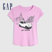 Gap女童 Logo創意印花圓領短袖T恤 625123-紫色