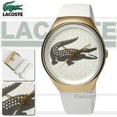 【時刻表‧LACOSTE_手錶】簡約品味‧輕薄時尚矽膠腕錶-銀白色〈L2000787〉
