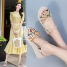 坡跟涼鞋 年夏季新款仙女風平底涼鞋女鞋時裝百搭坡跟鬆糕厚底中跟羅馬