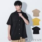 【OBIYUAN】工裝襯衫 素面 寬鬆 翻蓋口袋 棉麻 涼感 短袖上衣 3色【X69227】