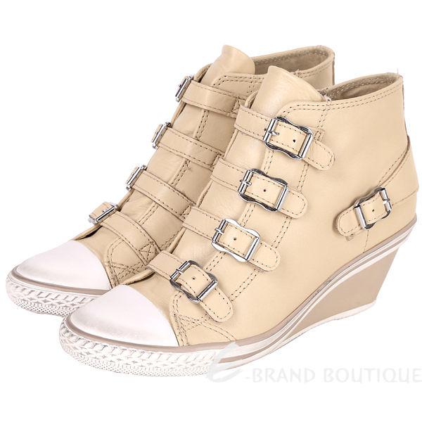 ASH GENIAL 經典羊皮釦帶楔型休閒鞋(駝色) 1520450-28