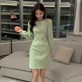 超殺29折 韓國風氣質娃娃領修身顯瘦時尚長袖洋裝