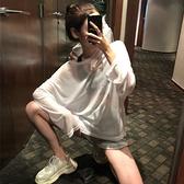 透視上衣 寬鬆透視薄款長袖中長款百搭時尚復古新版防曬T恤上衣女潮-Ballet朵朵