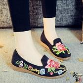 繡花鞋民族風舒適牛筋軟底媽媽鞋女單鞋布鞋散步鞋 週年慶降價