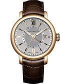 AEROWATCH Renaissance GMT 二地時區腕錶-銀x咖啡色錶帶 A44937RO10