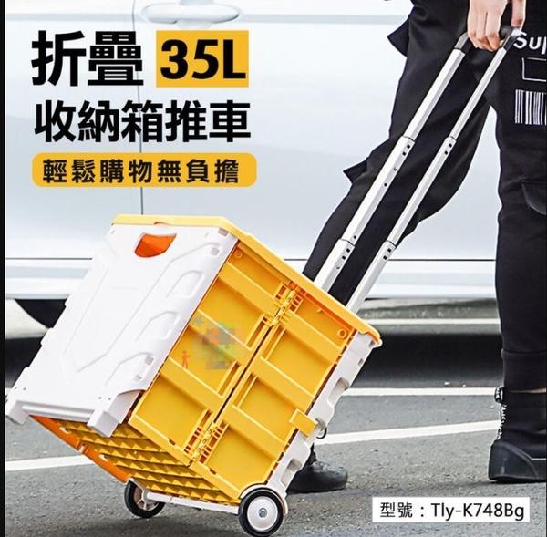 【加蓋款】35L 折疊收納箱推車(含蓋) 鋁合金拉桿 伸縮拉桿 購物車 防水袋 保溫保冷袋 Tly-K748Bg