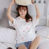 睡衣女夏季純棉短袖兩件套
