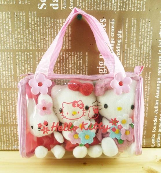 【震撼精品百貨】Hello Kitty 凱蒂貓~絨毛玩具組附袋-粉花