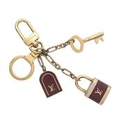 LOUIS VUITTON LV 路易威登 Porte Cles Cadenas 復古金色金屬X紅色琺瑯鑰匙釦