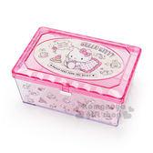 〔小禮堂〕Hello Kitty 菱格壓克力置物盒《粉.長方型.坐姿.看書》收納盒.飾品盒 4901610-91295