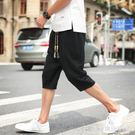 男士短褲韓版潮流百搭七分褲亞麻寬鬆薄款休閒褲男夏季7分哈倫褲
