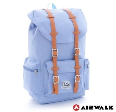 Backbager 背包族【美國 AIRWALK】摩登學院風 抽繩束口袋 筆電後背包(大) - 淺藍