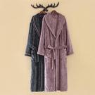 睡衣 秋冬季加厚加長款睡袍女冬法蘭絨情侶浴袍男士珊瑚絨大碼睡衣紫色 韓菲兒