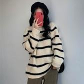 高領條紋毛衣女秋冬新款韓版寬鬆慵懶風文藝復古長袖針織衫學生潮 雅楓居